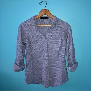 The Limited Blue Button Up Star Blouse Career Work